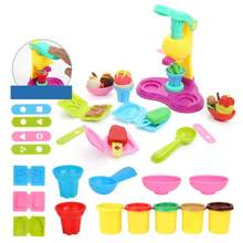 Kids Ice Cream Machine Clay Play Toy Creative Colorful Fast Food Making Plasticine Tool Mold Baby Kid Role Play Educational Toy(China)