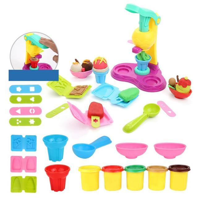 Kids Ice Cream Machine Clay Play Toy Creative Colorful Fast Food