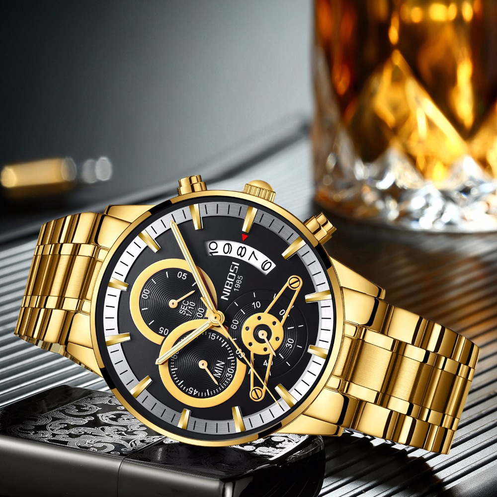 NIBOSI  Fashion Men Watch Men Automatic Mechanical Wrist Wristwatch Stainless Steel Male Clock
