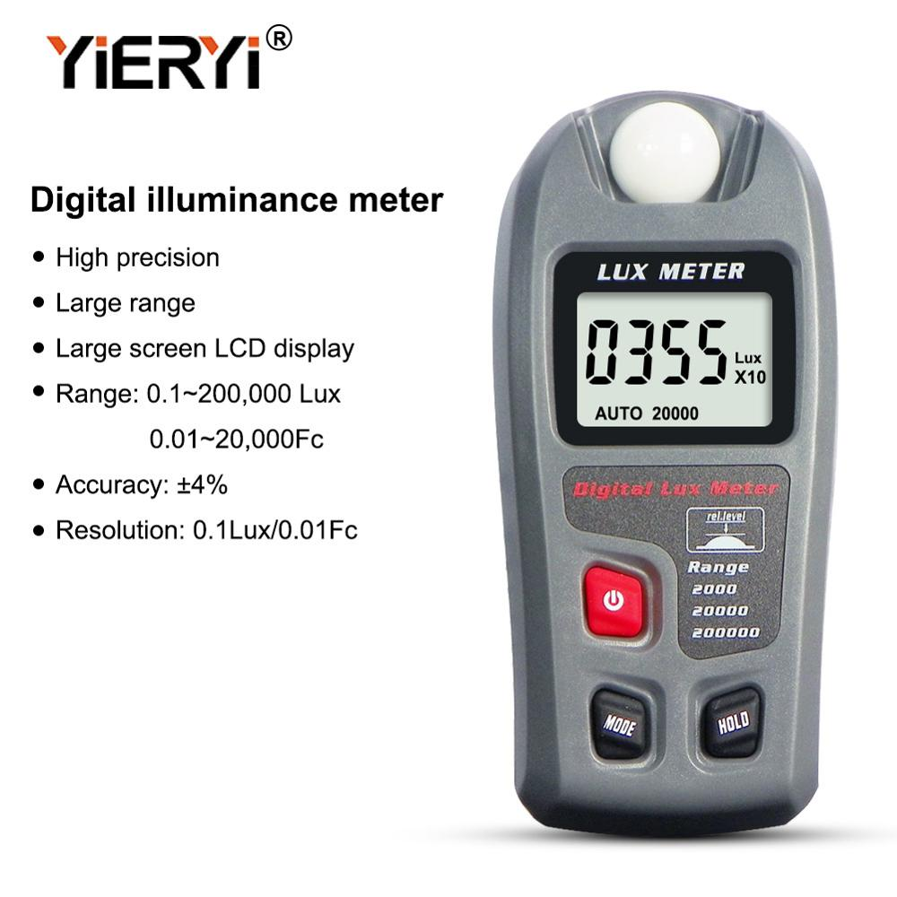 Yieryi MT-30 Digital Luxmeter 0 ~ 200000 Lux LCD Display Light Meter Environmental Testing Illuminometer Sensor Large Photometer