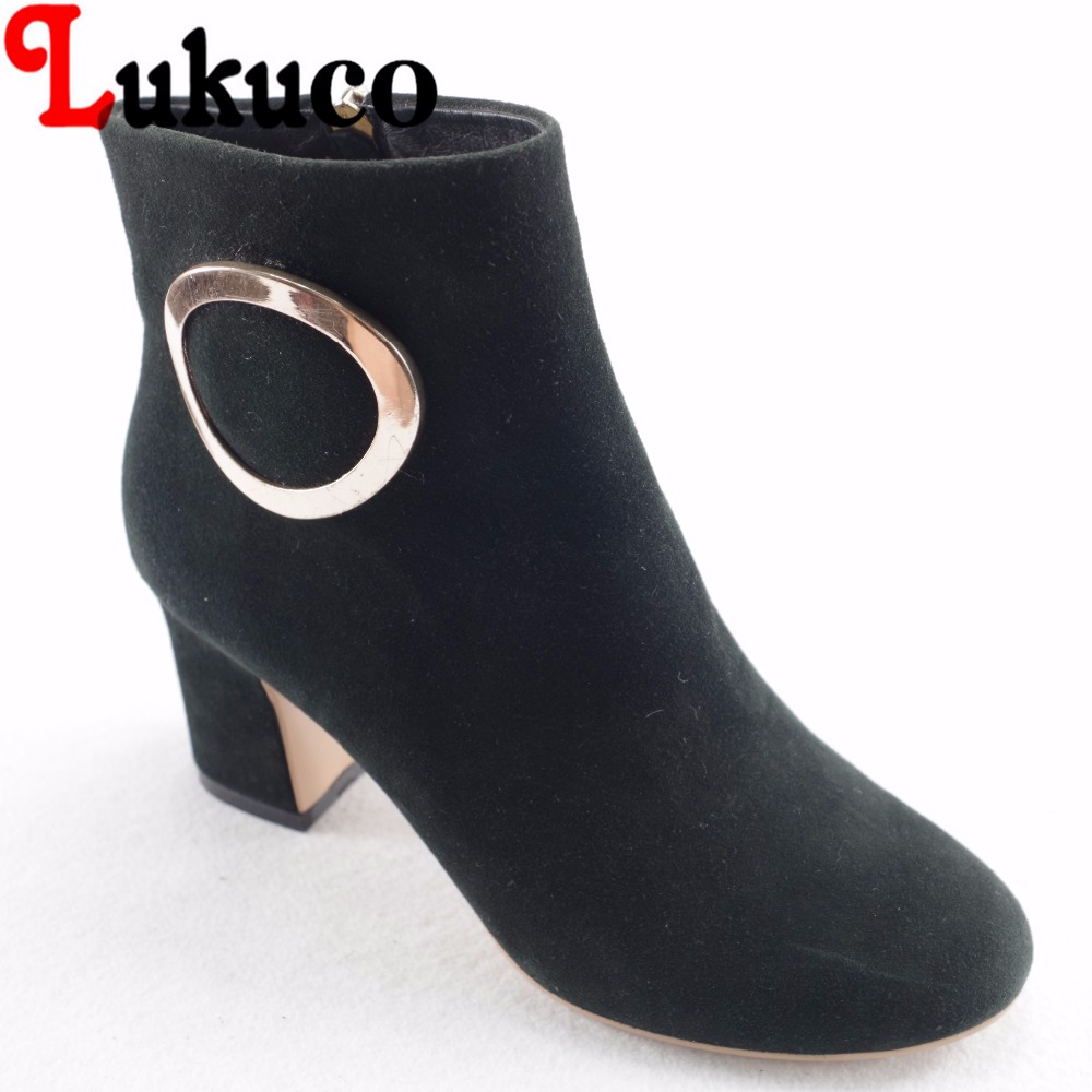 Lukuco pure color women ankle boots microfiber made metal ring and zip design shoe with pigskin inside lukuco pure color women mid calf boots microfiber made buckle design low hoof heel zip shoes with short plush inside