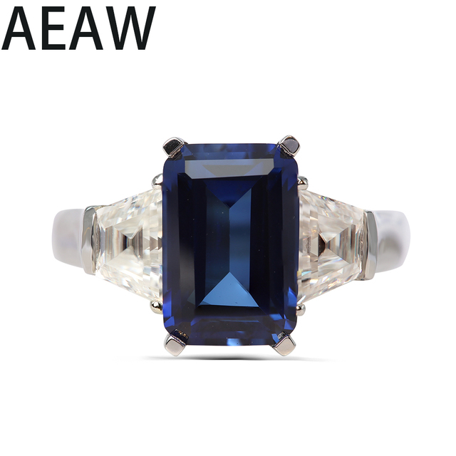 Solid 14K White Gold 4.25ct Emerald Cut 7x12mm Lab Created Sapphire Engagement With 1.61ctw white Moissanite Ring Free shipping