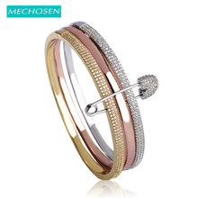MECHOSEN Unique Design 3 Round With Pins Bangles For Women White Rose Gold Color Love Cuff Bracelet Copper Pulseira Feminina