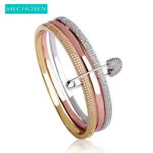 Image 1 - Браслет манжета mechoose Женский, браслет на запястье с уникальным дизайном из 3 круглых булавок, цвет белое, розовое золото, медь