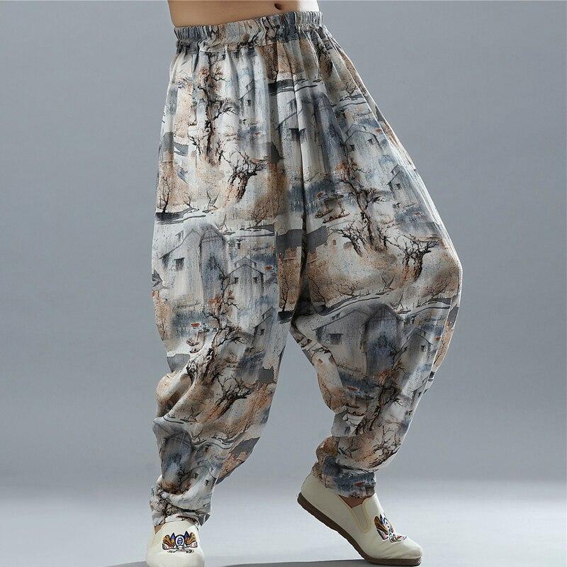 Новые Для мужчин Хлопок Лен большой заниженным шаговым швом брюки хиппи, Бохо шаровары широкие брюки длинные брюки повседневные мешковатые...