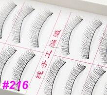 10 par #216 hechos a mano Natural pestañas falsas del maquillaje suavemente largas pestañas pestañas belleza cosmético herramientas
