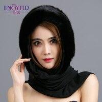 Enjoyfur натуральной норки Мех шапки и шарфа элегантные теплые зимние Шапки для Для женщин классической русской Стиль качество Мех женские шап