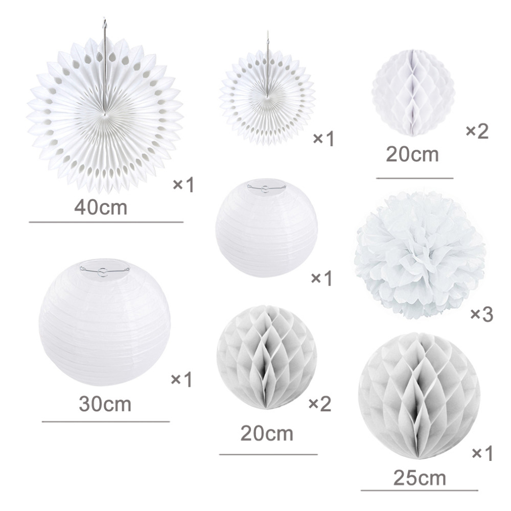 12pcs Elegant White Wedding Paper Decoration Set Paper Fans Lanterns Honeycomb Balls Decorative Pom Pom Flower Bridal Shower in Party DIY Decorations from Home Garden