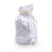 White Bridal Bridesmaid Satin Flower Decorated Dolly Bag Handbag Wedding Flower Girl Basket Rhinestone Decor