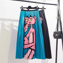 2020 Spring Autumn Pink Panther Printing Skirt Cartoon Europen Style Women A Line Pleated Skirt High Elastic Quality Skirts
