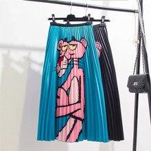 Falda con estampado de Pantera Rosa, primavera otoño 2020, estilo europeo de dibujos animados, Falda plisada de línea a, faldas de alta calidad elásticas