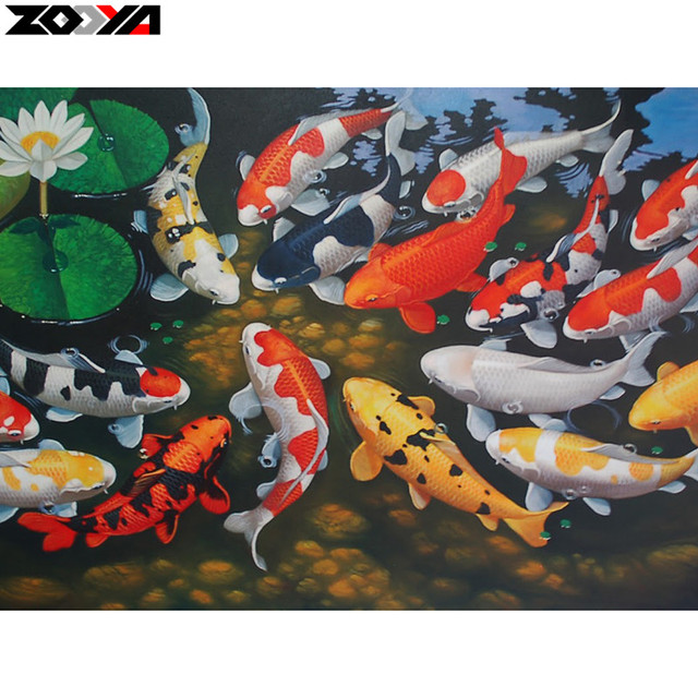Zooya Full Square Round Drill Diamond Embroidery Pond Koi 5d Diy Painting Cross Sch
