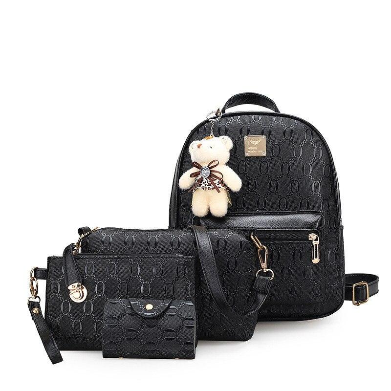 2017 Women s backpack 4pcs set women small black backpack fashion pu leather female Travel bagpack