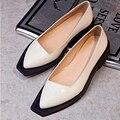 [Soonyour] 2016 outono nova de couro do inverno divisão conjunta branco preto sapatos de fundo plano mulheres maré de moda personalidade HB07914