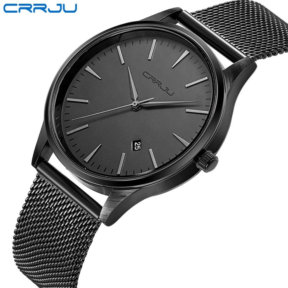 Top Luxury Brand Men Full Stainless Steel Mesh Strap Business Watches Men's Quartz Date Clock Men Wrist Watch relogio masculino