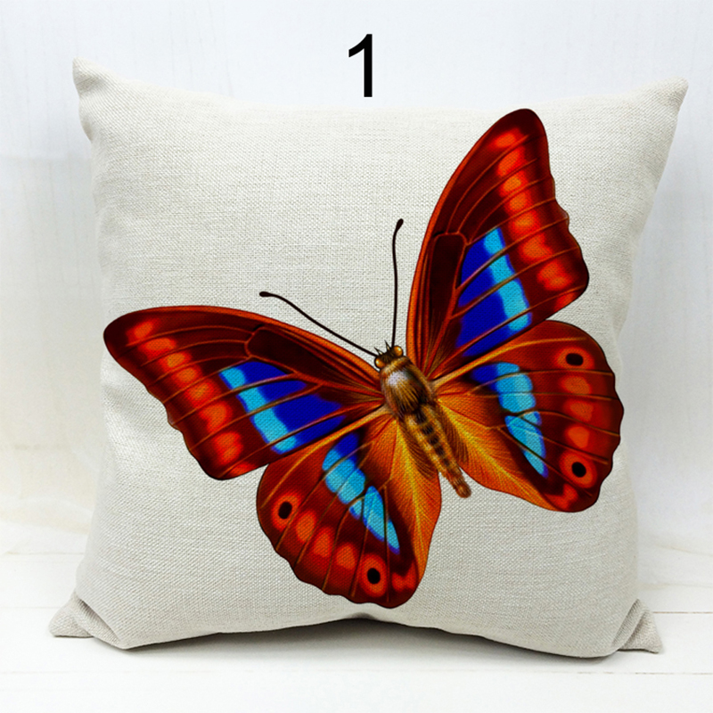 45x45cm Hot Selling 2016 New 3D Butterfly Linen Cushion Cover Pillow Cover Birds For Decoration Vintage Coussin
