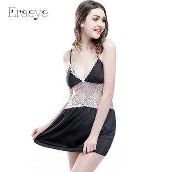 ERAEYE Women Faux Slik Satin Detachable Royal Bra Night Dress Laec Sexy Lingerie Sleepwear Home Wear Pyjamas