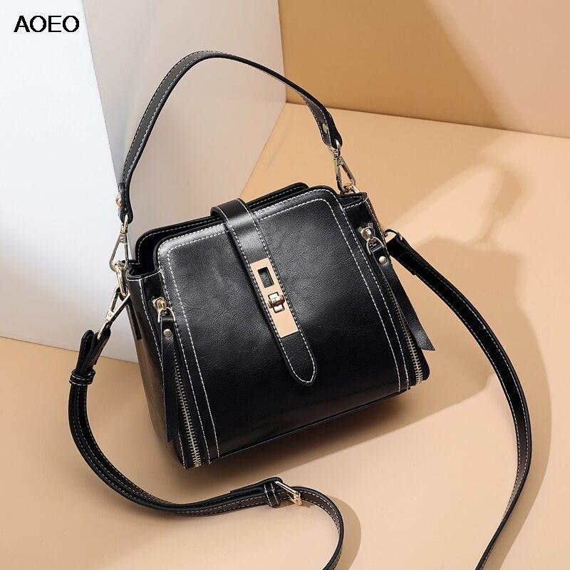 AOEO Womens Shoulder Bag And Handbag Summer Clutch Split Leather OL Small Bucket Crossbody Bags For