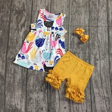 00101e4d8 2018 Summer colthing Baby girl clothes farm girl chicken barnyard kids  capri outfits 12m-8T boutique clothes with bow