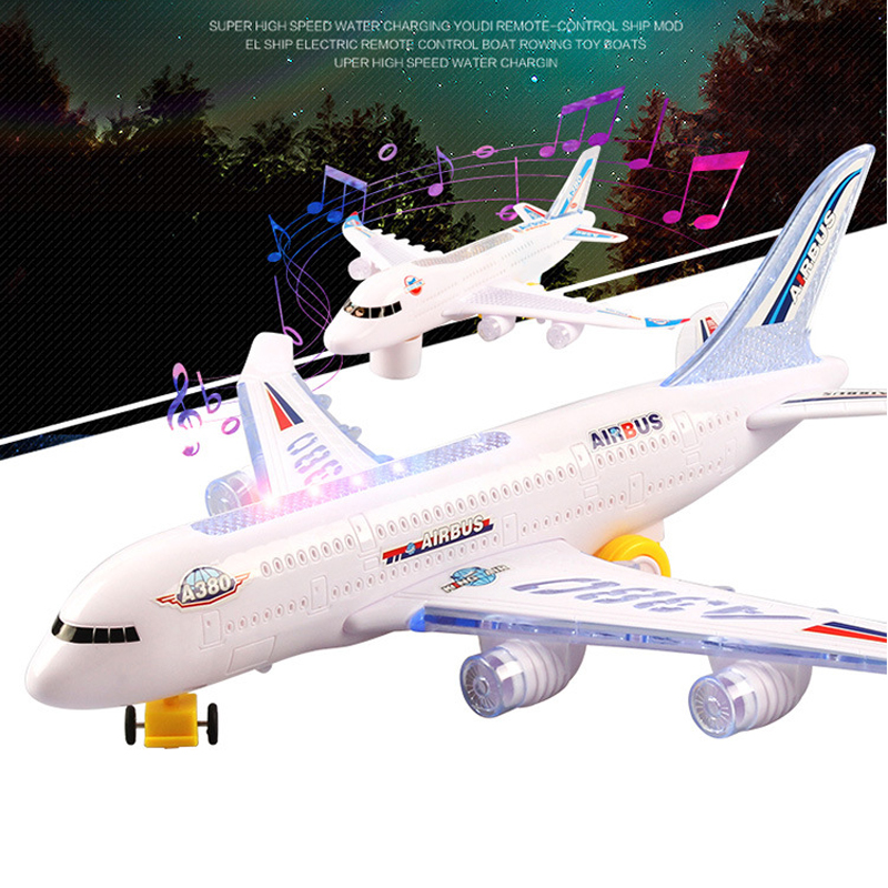 Led Airplane Automatic Steering Plane With Lights And Sounds Electric Toys For Kids Boys DIY Assemble Aircraft Baby Birthday
