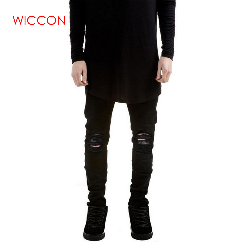 New Black Ripped Jeans Men With Holes Denim Super Skinny Famous Designer Brand Slim Fit Jean Pants Scratched Biker Jeans Trouser