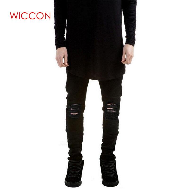 fa45ef9d2b New Black Ripped Jeans Men With Holes Denim Super Skinny Famous Designer  Brand Slim Fit Jean Pants Scratched Biker Jeans Trouser
