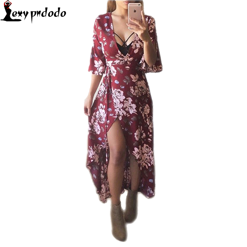 2016 New Sexy Floral Printed Dress chiffon Women Vintage casual beach long dress loose Vestidos boho maxi Dresses Autumn vestido