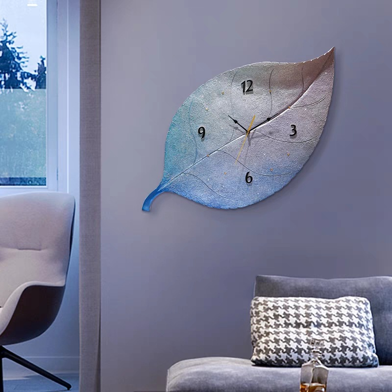 Large Wall Clock On The Wall Beautiful Leaves Home 3D Personality Clock Modern Design Living Room Decoration Quartz Clock