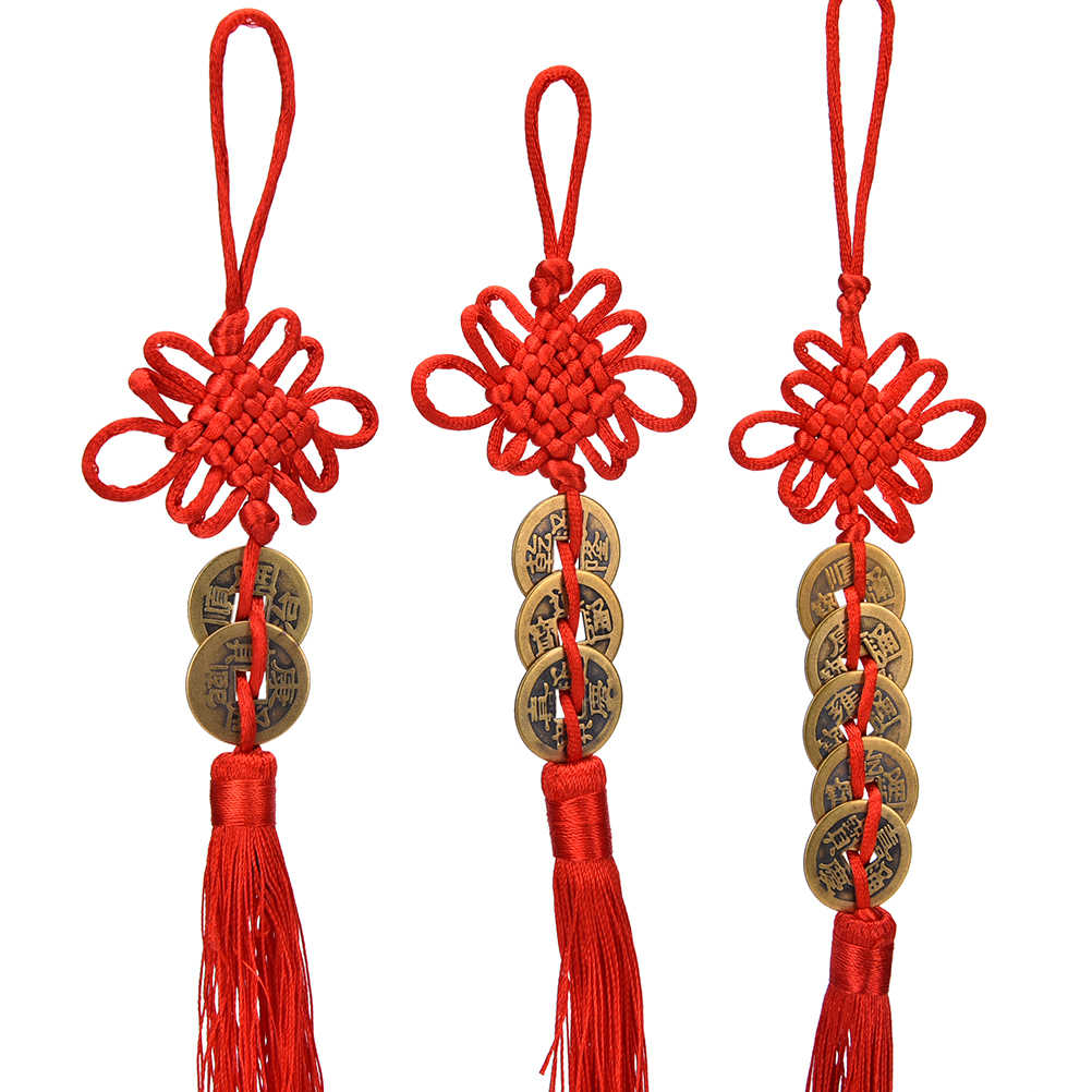 1pc Vintage 1/2/3/5/6 Münzen Roten Chinesischen Knoten Kupfer Feng Shui Reichtum Erfolg Glück Charme Hause Auto Aufhänger
