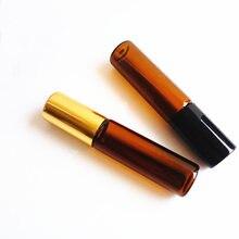 50 adet/grup 1ml 2ml 3ml 5ml 10ml Amber Roll on cam şişe alüminyum rulo parfüm şişesi üzerinde boş rulo parfüm örnek şişesi