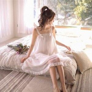 Image 3 - モーダル白レースノースリーブナイトガウン女性のレトロなヴィンテージ王女女性のゆるいパジャマセクシーなナイトドレス