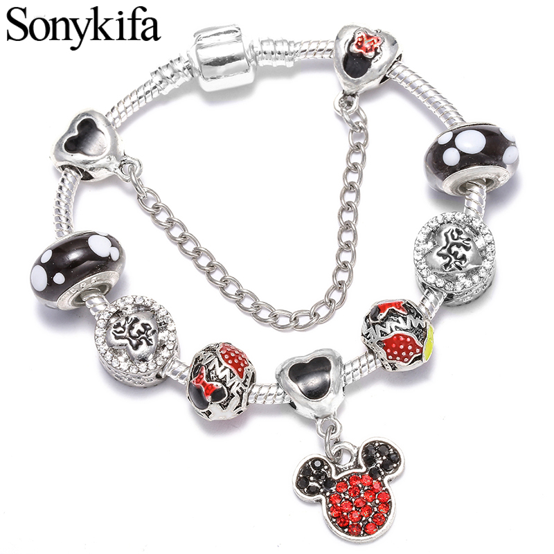 Sonykifa New Series with  DIY Painting oil bead Charm Bracelet for Women&children Pandora Bangle Fashion Jewelry(China)