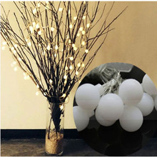 2m 20 Led White Balls Twinkle globe String Light Decorative Light AA Battery Operated Wedding Christmas Outdoor Patio Decoration