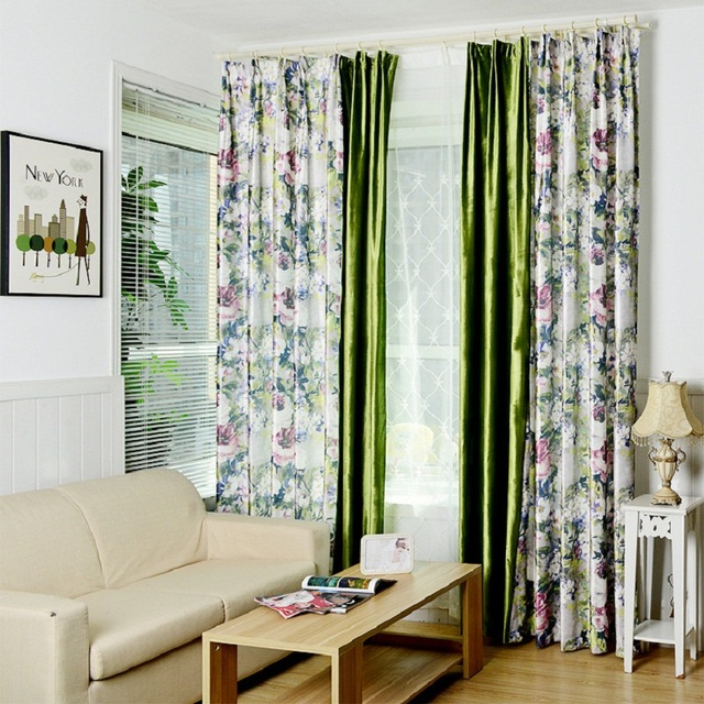 Blackout Curtain American Country Style For Living Bedroom Floral Polyester  Cortinas Window Curtain Decoration Curtains