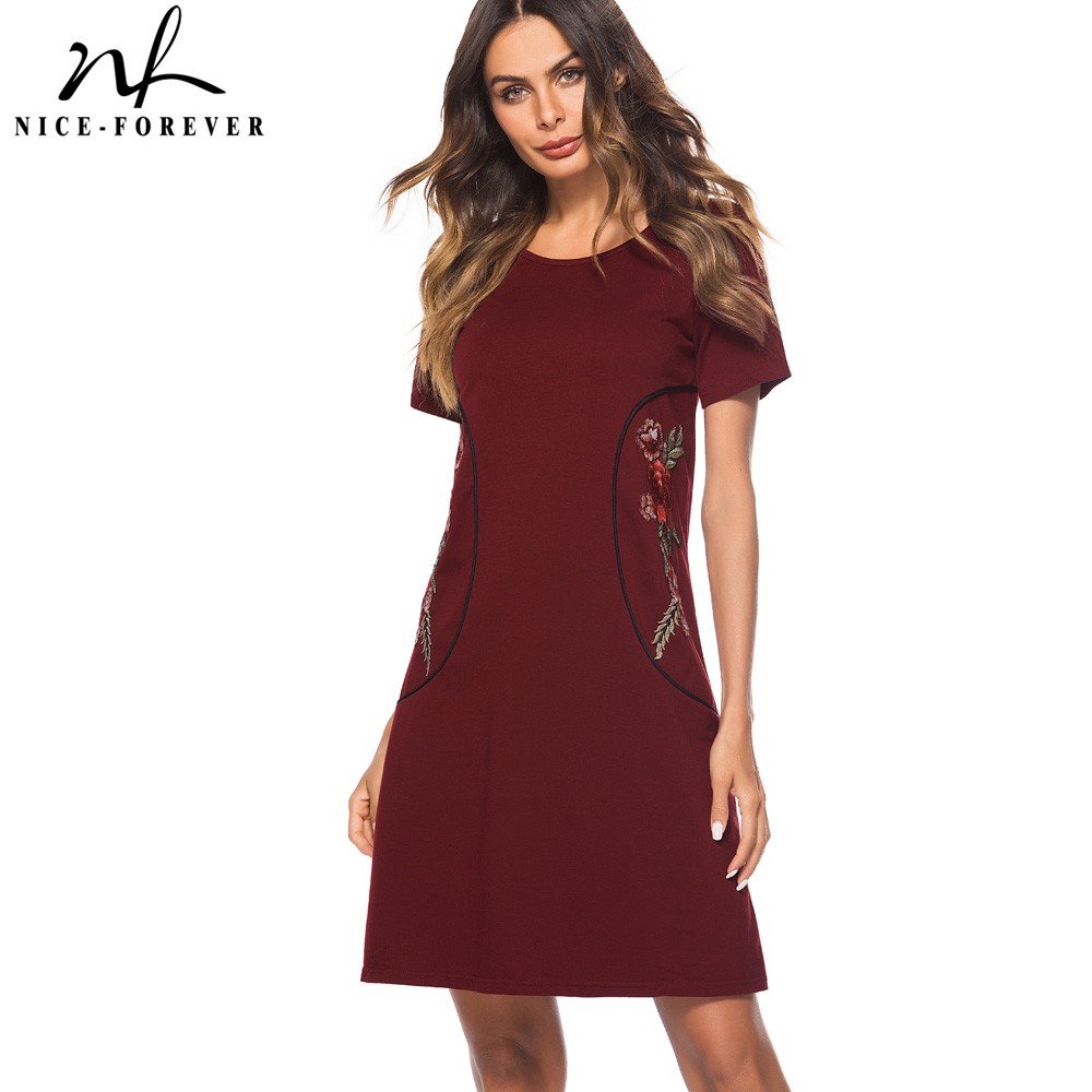 Nice-forever Causal Rockabilly Round Neck Embroidery Vestidos Short Sleeve Work Women Straight Shift Dress T034