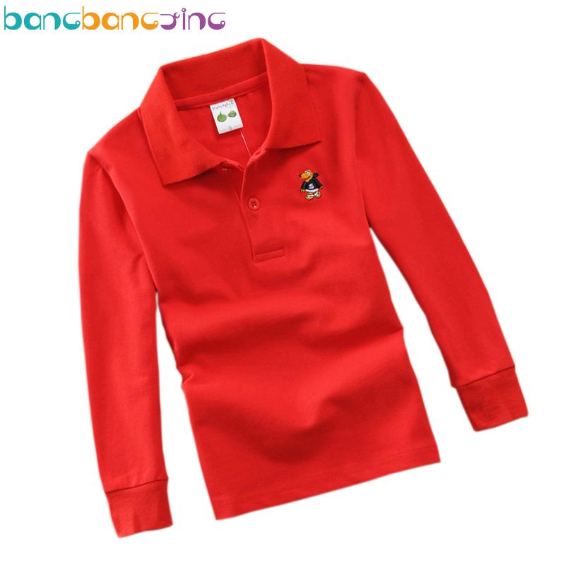 Long Sleeve Solid Color Polo Shirts For Boys Girls Cotton White Kids Shirts Boys School Uniform Clothes Age 3T-15