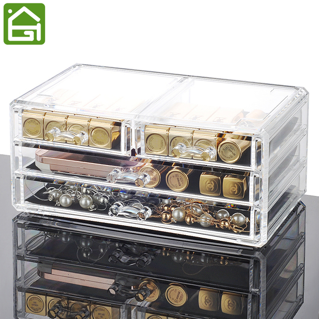 Clear Acrylic Jewelry Makeup Organizer Large Rectangle Storage