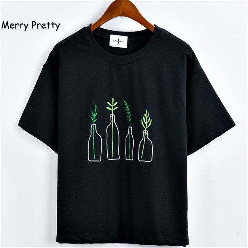 f25d5e425170 Merry Pretty Summer Fashion Women Harajuku Bottle Plants Pattern Embroidery  T Shirts Cotton Short Sleeve Funny Ladies Black Tops