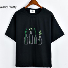 Merry Pretty Summer Fashion Women Harajuku Bottle Plants Pattern Embroidery T Shirts Cotton Short Sleeve Funny Ladies Black Tops
