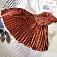 Весенняя женская длинная Плиссированная юбка с высокой талией, Женская длинная юбка, Женская Осенняя Высококачественная винтажная юбка макси