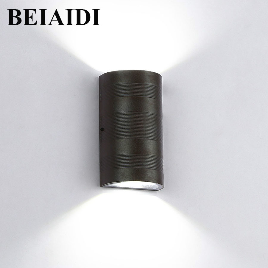 BEIAIDI 6W Outdoor Indoor Led Wall Lamp COB Waterproof Villa Garden Balcony Courtyard Wall Light Aluminum Porch Wall Sconces outdoor lighting waterproof glass wall lamp vintage indoor villa porch garden courtyard decora light ip65 led outdoor wall light