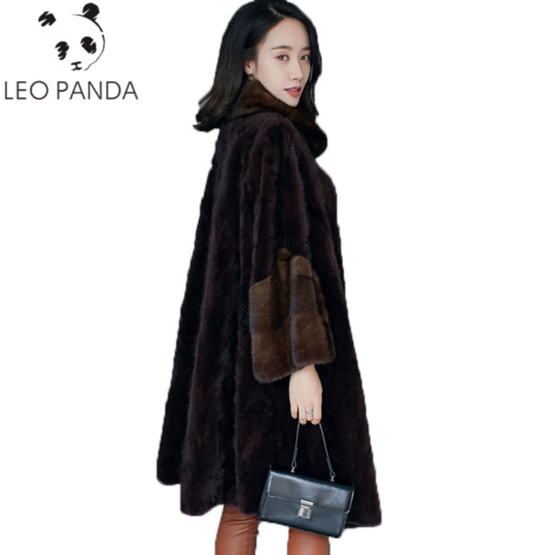 Высокое качество норковая шуба зимнее пальто 2019 женская одежда настоящая Меховая куртка корейские элегантные тонкие длинные пальто манто