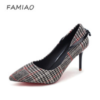 FAMIAO New Sexy Spring High Heels Women Fashion 2018 Pumps Female Party Wedding Shoes Thin Heeled