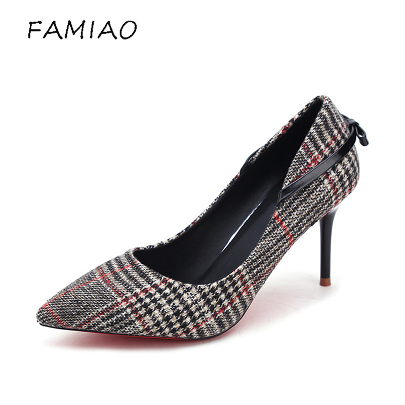 FAMIAO New Sexy Spring High Heels Women Fashion 2018 Pumps Female Party Wedding Shoes Thin Heeled Woman red botton pumps 2017 new high heeled shoes woman pumps wedding shoes platform fashion women shoes red high heels 11cm suede free shipping 186