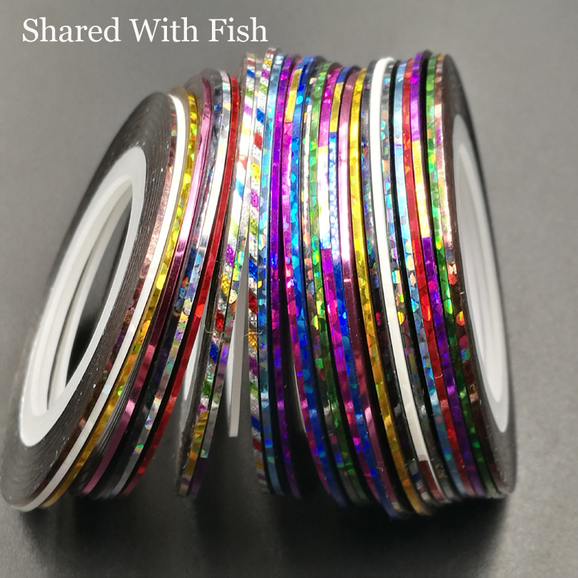 28pcs/pack Colorful Tinsel Chenille Fly Tying Material UV Shinning Lines Tape For Fly Fishing Nymph Chironomid 1mm*20yards