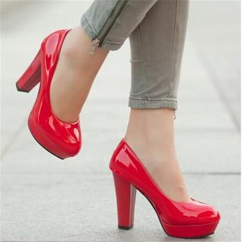 innovative design ffb37 cd469 Große Größe 34-42 Damen Plateau Pumps Schuhe für frau high heels Weiße  hochzeit Schuhe zapatos mujer Frühling rote bootsschuhe