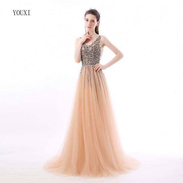 New V-Neck Sparkly Vestido de Festa Long Evening Dresses 2017 Elegant Sexy  See Through High Split Tulle Prom Gowns 88b43467c155