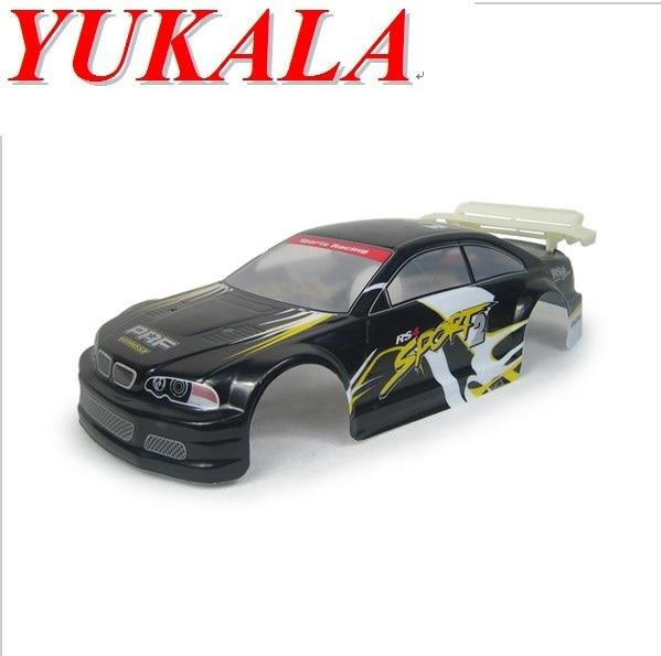 YUKALA 1/10 RC piezas del coche cuerpo de PVC 200 mm azul / negro / plata 2pcs / lot envío gratis
