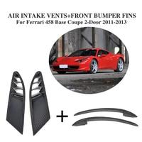 4 Unids/set Carbon Fiber Side Air Vents Cubiertas De Malla y Las Aletas Delanteras Splitters para Ferrari 458 Base Coupe $ Number Puertas 2011-2013
