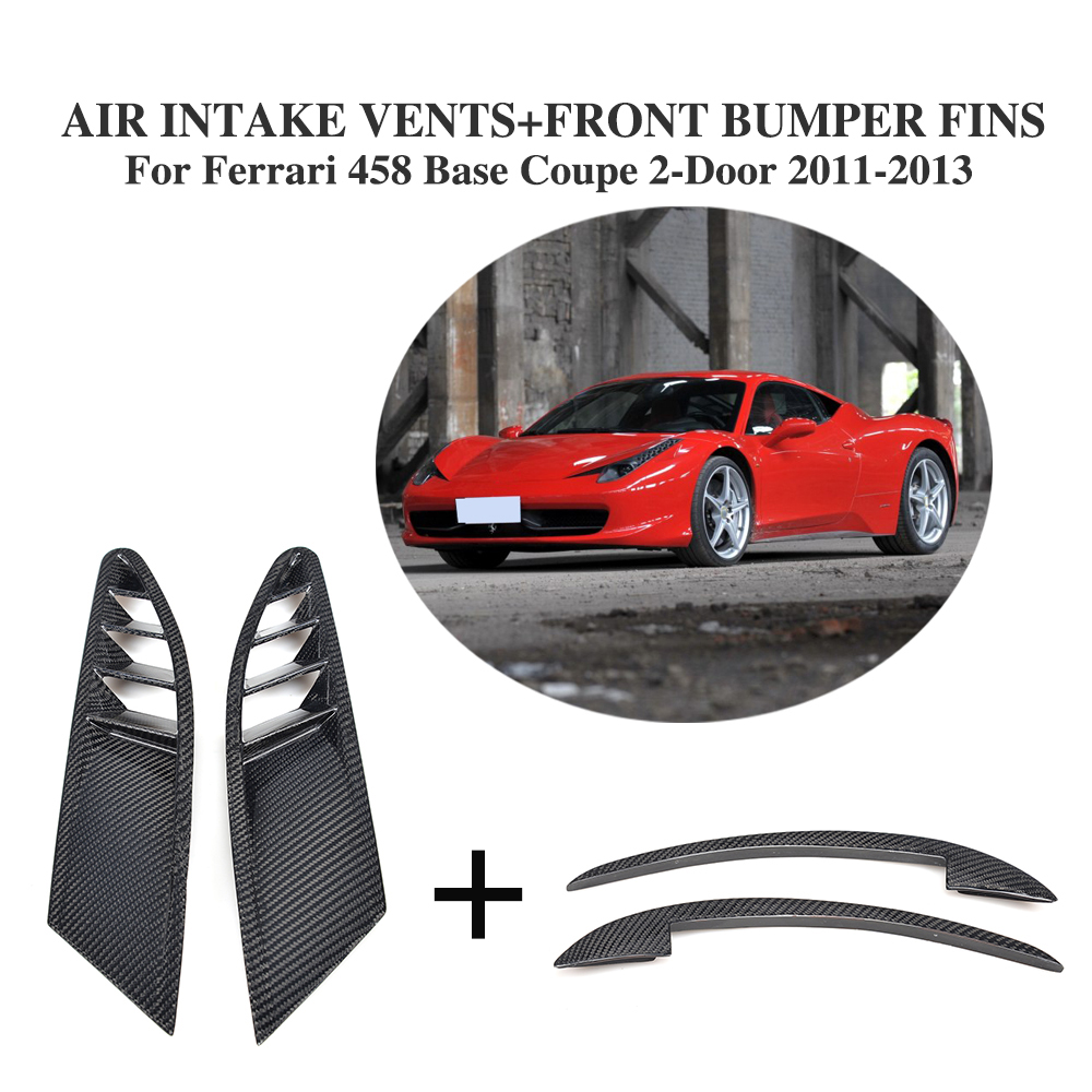 4PCS/Set Carbon Fiber Side Air Intake Vents Mesh Covers and Front Fins Splitters for Ferrari 458 Base Coupe 2-Door 2011-2013